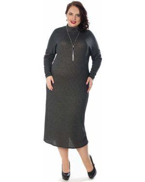 Платье макси серое лапша Wisell