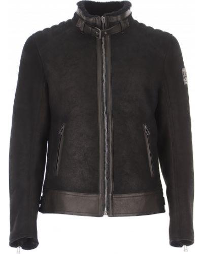 Czarny z rękawami zimowy kurtka z kołnierzem z kieszeniami Belstaff