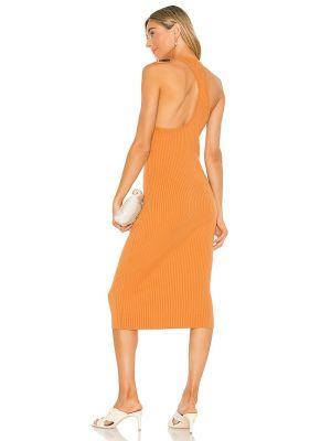 Хлопковое оранжевое платье миди винтажное Line & Dot
