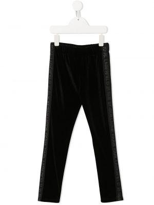 Czarne legginsy z aksamitu Karl Lagerfeld Kids