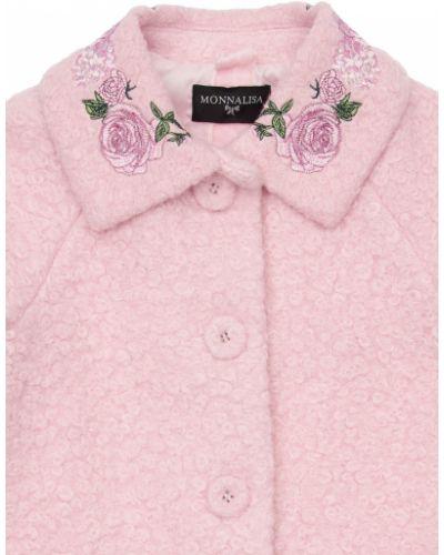 Розовое пальто с воротником с вышивкой на пуговицах Monnalisa