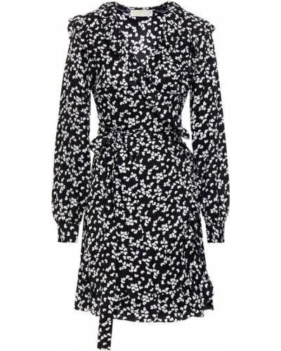Шелковое черное платье мини на пуговицах Michael Michael Kors