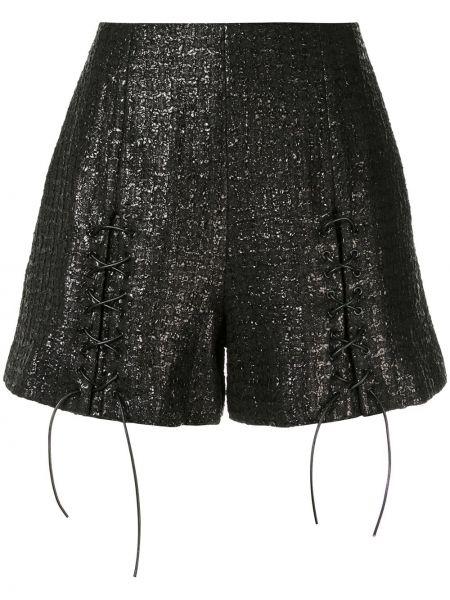 Однобортные черные шорты металлические Olivier Theyskens