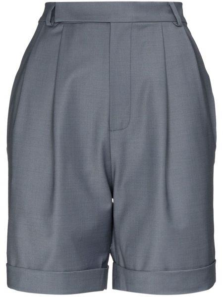 Плиссированные шерстяные серые шорты со складками Anouki
