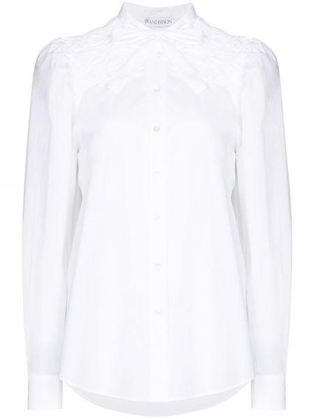 Ватная хлопковая белая рубашка с оборками Jw Anderson