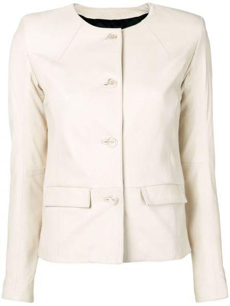 Кожаный приталенный пиджак с карманами на пуговицах S.w.o.r.d 6.6.44