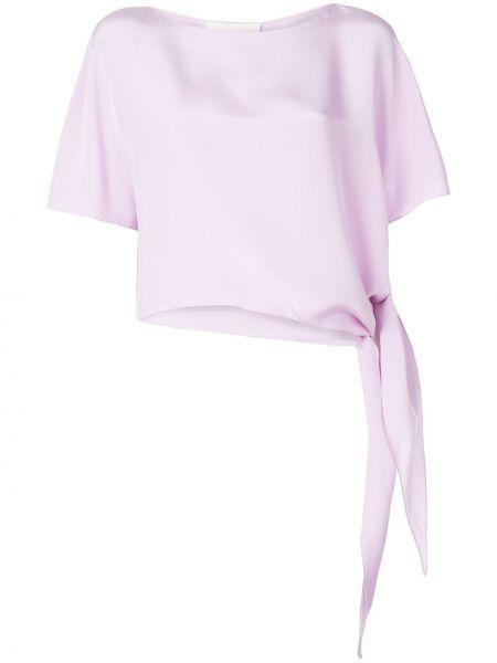 Fioletowa bluzka krótki rękaw z jedwabiu Christian Siriano