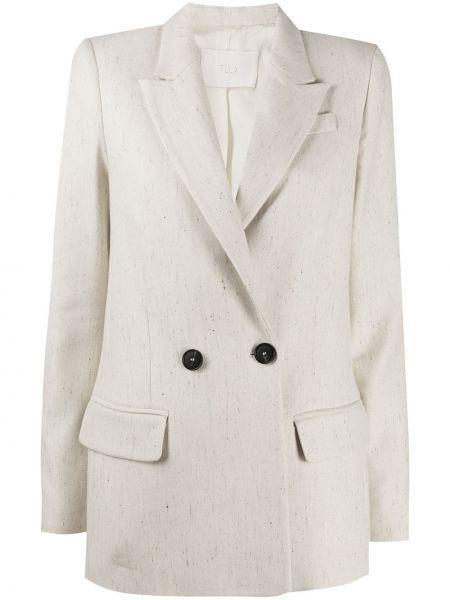 Бежевый пиджак с карманами на пуговицах с манжетами Tela