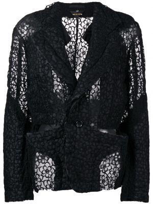 Кружевной черный удлиненный пиджак на пуговицах Comme Des Garçons