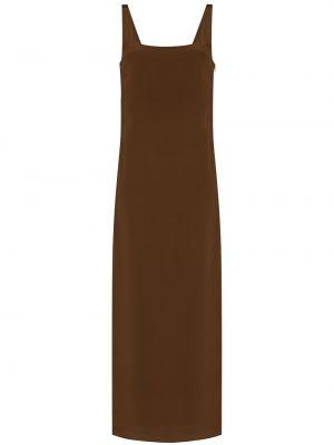 Льняное коричневое платье на бретелях Matteau
