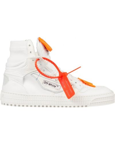 Кожаные кроссовки с вышивкой с надписью Off-white