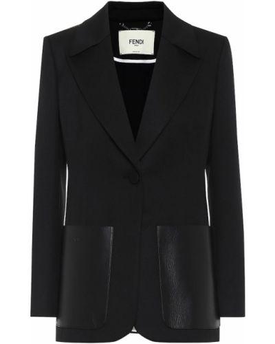 Пиджак черный кожаный Fendi