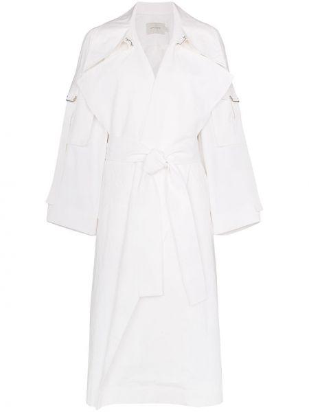 Хлопковое белое пальто классическое Low Classic