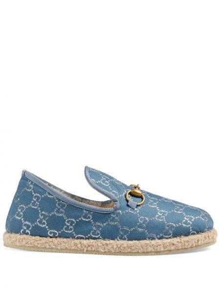 Niebieski loafers okrągły nos okrągły prążkowany Gucci