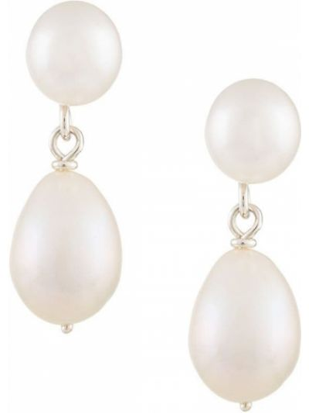 Белые серьги-гвоздики с жемчугом Natasha Schweitzer