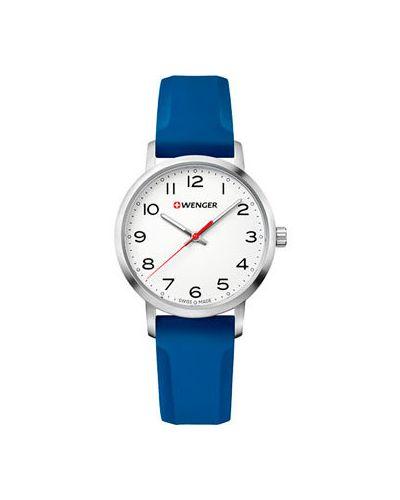 Кварцевые часы швейцарские с люминесцентными стрелками с каучуковым ремешком Wenger
