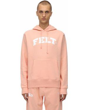 Różowa bluza z kapturem bawełniana Felt - For Every Living Thing