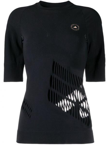 Брендовая с рукавами черная рубашка Adidas By Stella Mccartney