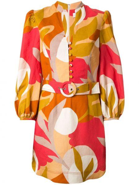 Платье с поясом на пуговицах с V-образным вырезом Rebecca Vallance