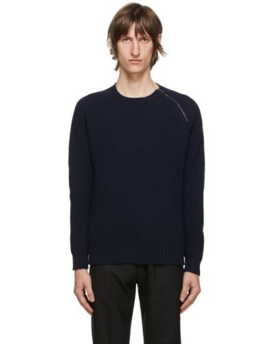 Czarny sweter z kołnierzem z mankietami z długimi rękawami Belstaff