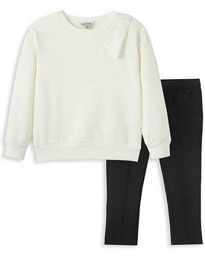 Białe legginsy bawełniane z długimi rękawami Habitual