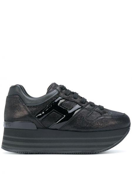 Koronkowa czarny sneakersy na platformie na sznurowadłach z prawdziwej skóry Hogan