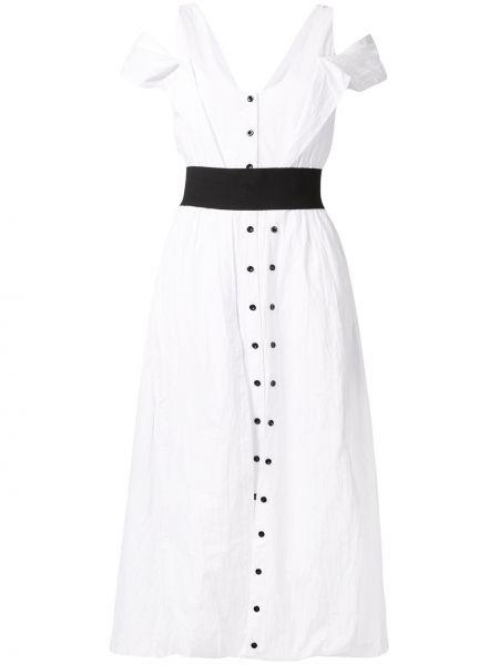 Платье с поясом на пуговицах с вырезом Kitx