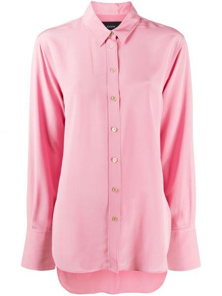 Розовая шелковая с рукавами классическая рубашка Joseph