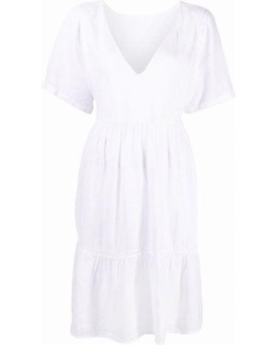 Белое льняное расклешенное платье с V-образным вырезом 120% Lino