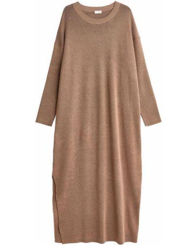 Beżowa sukienka krótki rękaw By Malene Birger