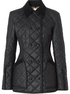 Czarna kurtka pikowana bawełniana Burberry