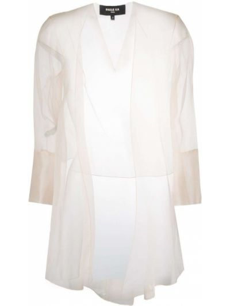 С рукавами шелковый белый удлиненный пиджак без застежки Paule Ka