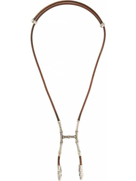 Skórzany naszyjnik z logo Hermes