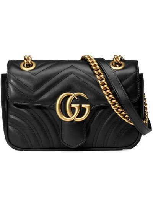 Кожаная черная стеганая маленькая сумка с вышивкой Gucci