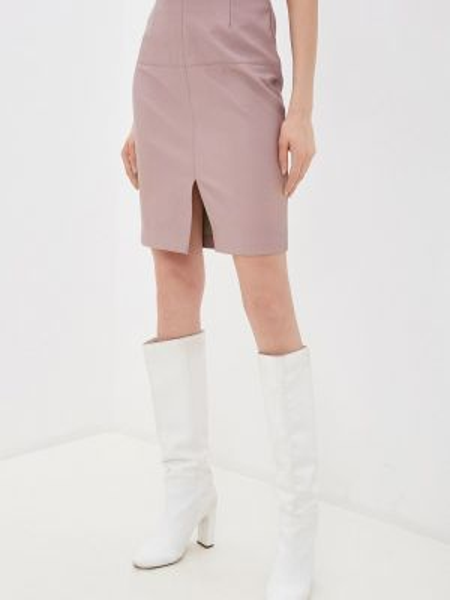 Кожаная юбка розовая весенняя Zarina
