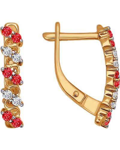 Золотые серьги с фианитом Sokolov