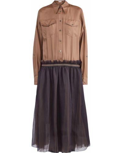 Платье миди с отложным воротником с манжетами на кнопках Brunello Cucinelli