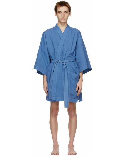Niebieski długi szlafrok bawełniany z paskiem Double Rainbouu