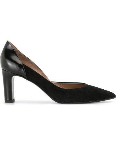 Черные кожаные туфли-лодочки на каблуке Hermes