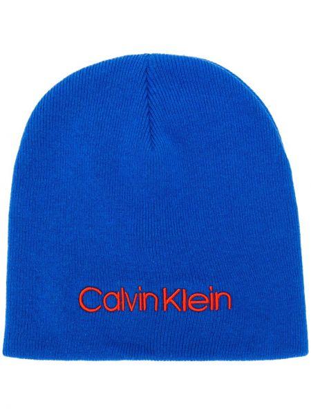 Шерстяная шапка бини - синяя Calvin Klein