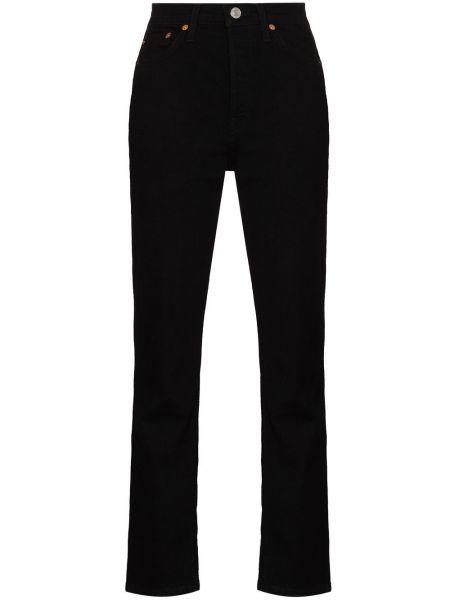 Хлопковые черные прямые джинсы Re/done