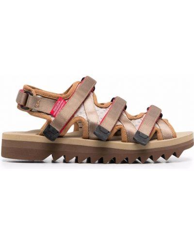 Beżowe sandały peep toe z nylonu Suicoke