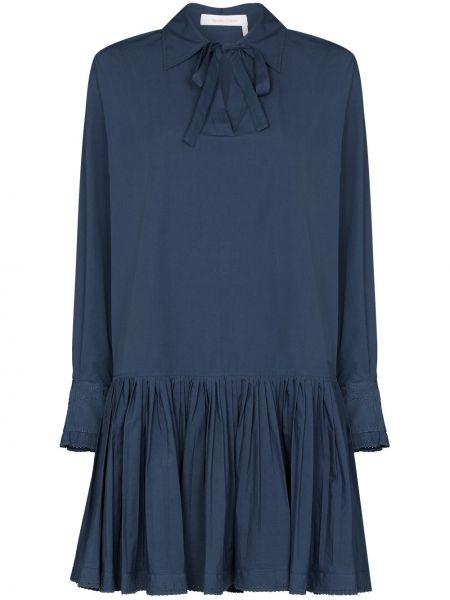 Синее платье мини с воротником трапеция с завязками See By Chloé