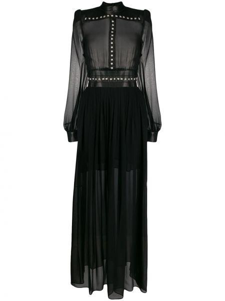 Шелковое платье макси - черное John Richmond