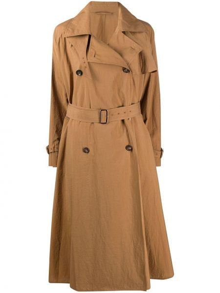 Хлопковый пальто классическое с поясом с воротником Max Mara