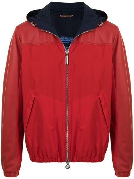 Красная кожаная длинная куртка с капюшоном Stefano Ricci