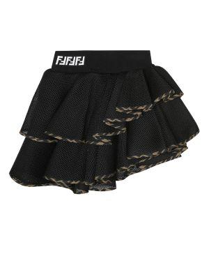 Черная юбка с сеткой сетчатая Fendi Kids