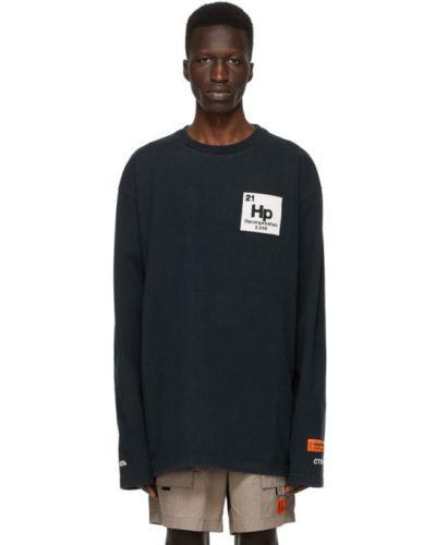 Bawełna z rękawami czarny koszula z haftem Heron Preston