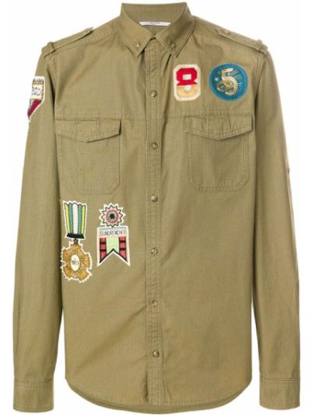Koszula z długim rękawem wojskowy jedwab Valentino