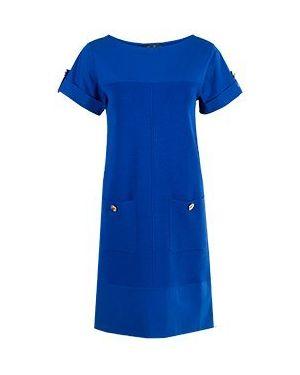 Синее платье с капюшоном для офиса Luisa Spagnoli